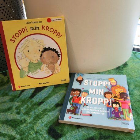 """Bild på böckerna """"Lilla boken om Stopp min kropp"""" och """"Stopp min kropp. En kul och viktig bok om kroppen, känslor och hemligheter""""."""